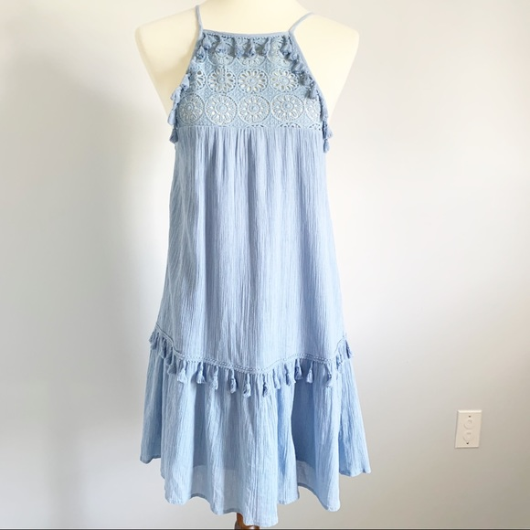 Altar'd State Dresses & Skirts - Altar'd State Baby Blue Tassel Dress